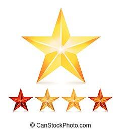 realização, vetorial, estrela, set., decoração, realístico, symbols., 3d, brilho, ícone, isolado, branco, experiência.