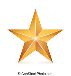 realização, vetorial, star., amarela, sinal., dourado, decoração, símbolo., 3d, brilho, ícone, isolado, branco, experiência.