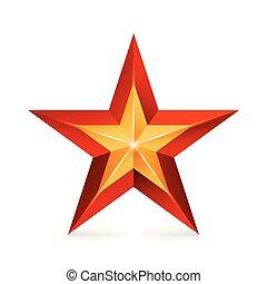 realização, vetorial, star., realístico, sinal., decoração, símbolo., 3d, brilho, ícone, isolado, branco, experiência.