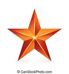 realização, vetorial, star., vermelho, sinal., decoração, símbolo., 3d, brilho, ícone, isolado, branco, experiência.