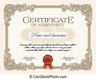 realização, vindima, certificado