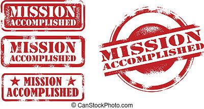 realizado, missão, selos