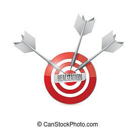 realization target illustration design over a white...
