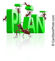 realizing executing plan - ants building word plan executing...