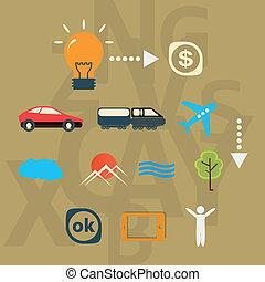 realizzazione, set, idea, viaggio, icone
