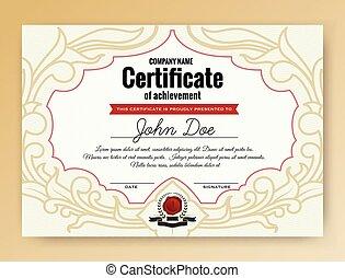 realizzazione, vendemmia, ornamenti, certificato, elegante