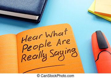really, concept., was, leute, zeichen., hören, zuhören, technik, aktive, spruch