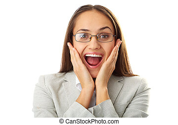Portrait of amazed businesswoman touching her face and looking at camera