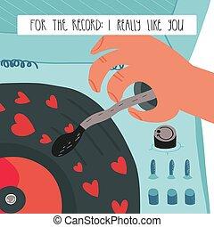 really, registro, card., registro, semelhante, saudação, lettering, dia, jogador, vinil, valentine, corações, engraçado, tu