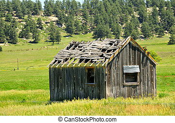 Really run down old wood building in the middle of a green grass field