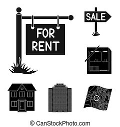Realtor, agency black icons in set collection for design. Buying and selling real estate bitmap symbol stock web illustration.