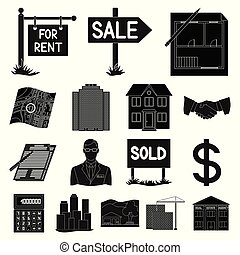 Realtor, agency black icons in set collection for design. Buying and selling real estate vector symbol stock web illustration.
