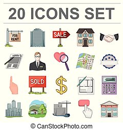 Realtor, agency cartoon icons in set collection for design. Buying and selling real estate vector symbol stock web illustration.