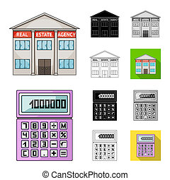 Realtor, agency cartoon,black,flat,monochrome,outline icons in set collection for design. Buying and selling real estate bitmap symbol stock web illustration.