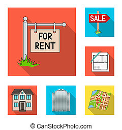 Realtor, agency flat icons in set collection for design. Buying and selling real estate bitmap symbol stock web illustration.