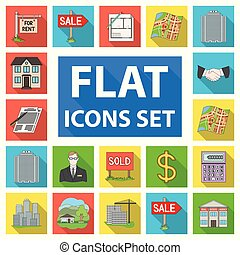 Realtor, agency flat icons in set collection for design. Buying and selling real estate vector symbol stock web illustration.