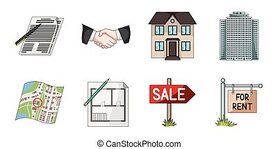 Realtor, agency icons in set collection for design. Buying...