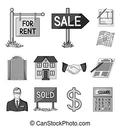 Realtor, agency monochrome icons in set collection for design. Buying and selling real estate bitmap symbol stock web illustration.