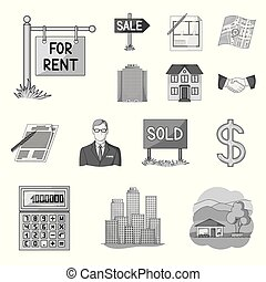 Realtor, agency monochrome icons in set collection for design. Buying and selling real estate vector symbol stock web illustration.