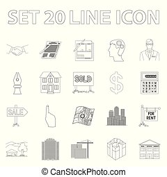 Realtor, agency outline icons in set collection for design. Buying and selling real estate vector symbol stock web illustration.