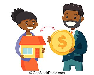 Realtor exchanging a house to the coin of a client