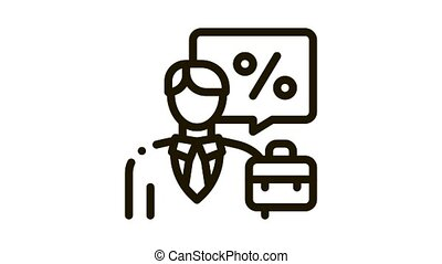 realtor for profit interest Icon Animation. black realtor for profit interest animated icon on white background