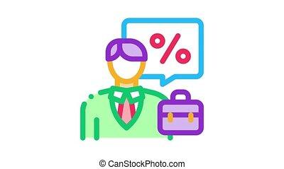 realtor for profit interest Icon Animation. color realtor for profit interest animated icon on white background