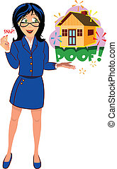 realtor gal - A woman standing wearing a blue dress with a...