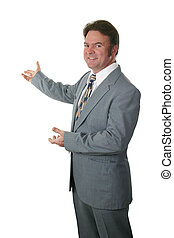 A realtor or businessman gesturing toward a new home or a chart. Isolated.