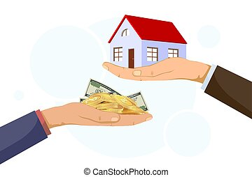 Realtor holds building. The buyer gives the money