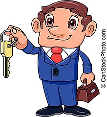 Realtor offering key to the apartment