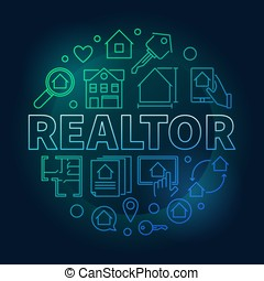 Realtor round colored vector illustration in outline style