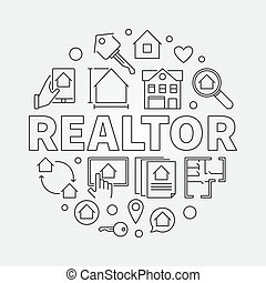 Realtor round vector illustration in thin line style
