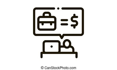 realtor services for money Icon Animation. black realtor services for money animated icon on white background