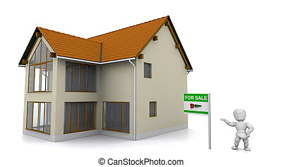 realtor showing property - 3d render of a realtor showing a...