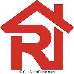realtor, vastgoed, r, brief, logo