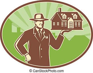 realtor, vastgoed, woning, retro, verkoper