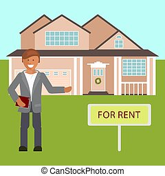 Realtor with placard for rent