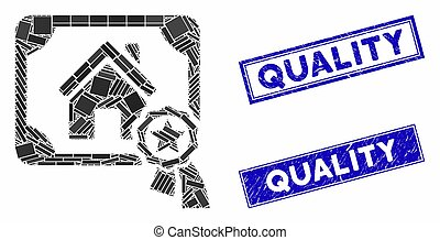 Realty Certification Mosaic and Distress Rectangle Seals