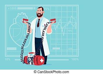 reanimation, 醫生, 門診部, 醫學的工人, 去纖顫器, 握住, 醫院