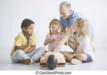 reanimation, gebruik, leren, kinderen, manikin