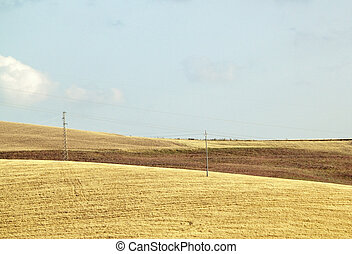 Reaped hills quater - View of reaped hills in Sicily