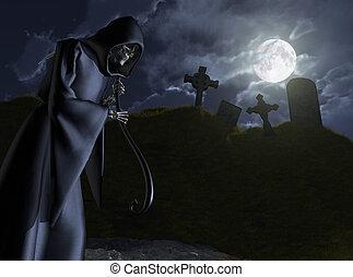 reaper, cimetière, sinistre, tiges