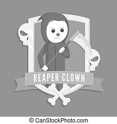 Reaper clown logo vector illustration design