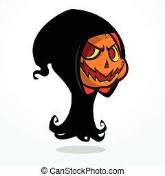 reaper, dessin animé, sinistre, citrouille