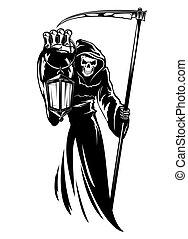 reaper, mort, sinistre, faux, impression, lanterne
