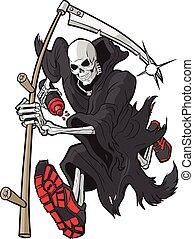reaper torvo, correndo, con, scarpe atletiche, e, bottiglia...