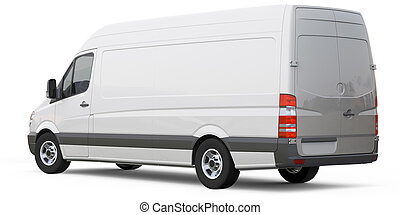 Rear angle of cargo van car - cargo van on a white...