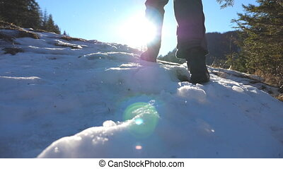 Rear back view of young hiker climbing up on snowy slope on sunny day. Unrecognizable man walking on snow mountain forest in winter. Healthy active lifestyle. Travel or journey concept. Slow motion