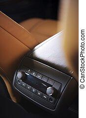 Rear Car Audio System. FM Radio on Display. Modern SUV Audio...